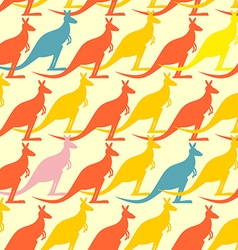 Kangaroo seamless pattern colored animals vector