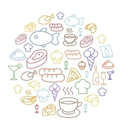 Set of flat food icons drawing line circular vector