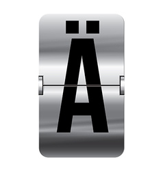 Alphabet silver flipboard letters a umlaut vector image vector image