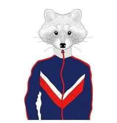 Anthropomorphic raccon boy in sport suit 90s hand vector