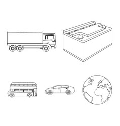 Battery and transport outline icons in set vector