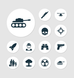 Battle icons set collection of missile target vector