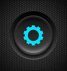 Black button with blue settings sign on carbon vector