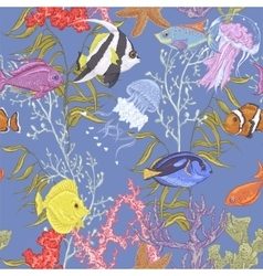 Blue sea life seamless background underwater vector