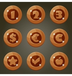 Bronze Coin With Currency Emblems vector image