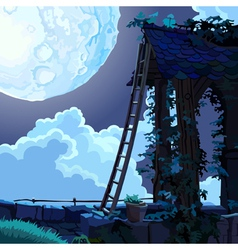 cartoon fairy house in the sky on a moonlit night vector image vector image