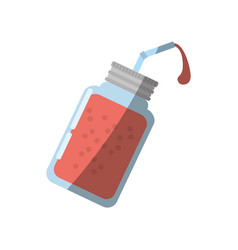 Cartoon glass jar juice shadow vector