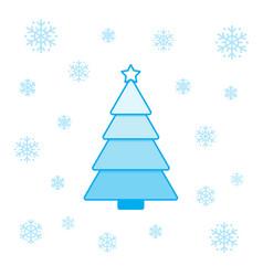 christmas tree and snowflakes vector image