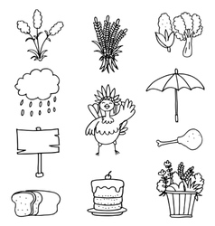 Element thanksgivig hand draw on doodles vector