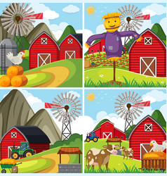 Four farm scenes with red barn and farm animals vector