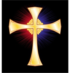 Gold cross vector image vector image