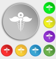 Health care icon sign symbol on eight flat buttons vector