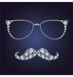 hipster mustache and glasses made up a lot of diam vector image vector image