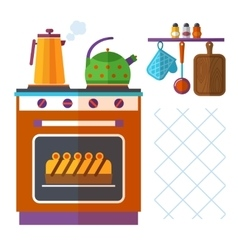 Home kitchenware concept with stove kettle vector image vector image
