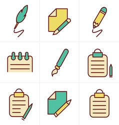 Icons style writing icons vector