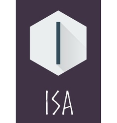 Isa rune of elder futhark in trend flat style vector
