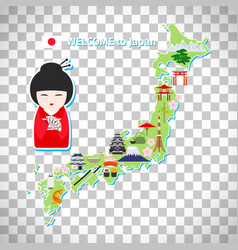Japan travel map on transparent background vector