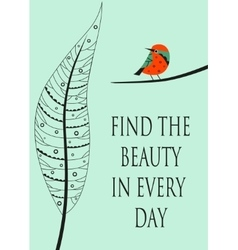 Leave with quote and bird vector image vector image