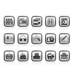 Library and books Icons vector image