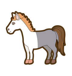Light colors of cartoon horse standing and thick vector
