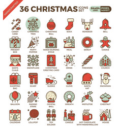 merry christmas xmas celebration outline icons vector image vector image