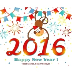 New year 2016 monkey card vector