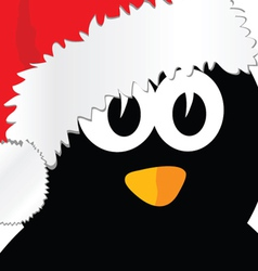 penguin with christmas hat art vector image vector image