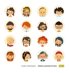 People avatars collection comic personage girls vector