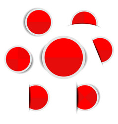 red paper circle stickers with shadows vector image