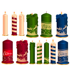 set of burning decorative christmas candles vector image vector image