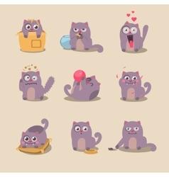 Set of cute cartoon cat in various poses vector