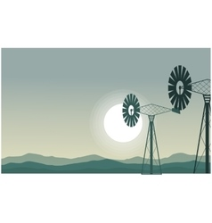 Silhouette of two windmill scenery vector image vector image