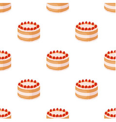 Strawberry cake icon in cartoon style isolated on vector