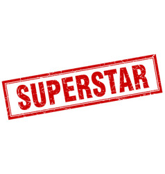 Superstar red square grunge stamp on white vector