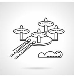 Surveillance drone flat line icon vector