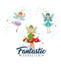 sweet and cute fairy cartoon vector image