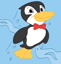 Swimming Penguin vector image vector image