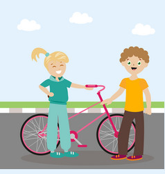 The guy and the girl are standing near the bicycle vector