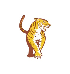 Tiger prowling retro vector