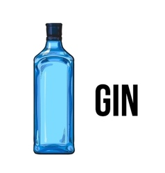Traditional unlabeled unopened blue gin glass vector image