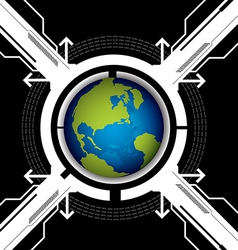 globe and technology background vector image