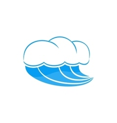 Sea wave with foam icon simple style vector