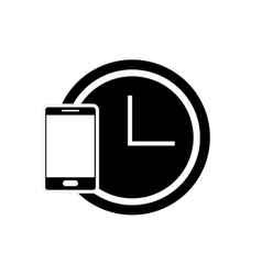 clock and cellphone icon vector image
