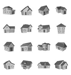 House icons set black monochrome style vector