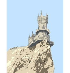 Swallows nest is a decorative castle near yalta vector