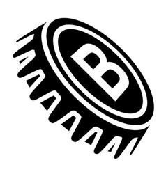 Beer bottle cap black symbol vector