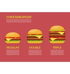 Three hamburgers set infographic vector image