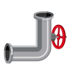 Pipeline piece with valve icon cartoon style vector