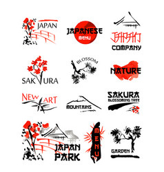 Logo templates set with asia landscapes buildings vector
