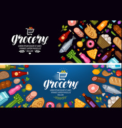 Grocery store banner food and drinks label vector